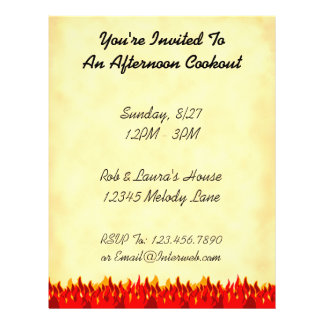 """BBQ Red Flames Custom Party Flyer Template 8.5"""" X 11"""" Flyer"""