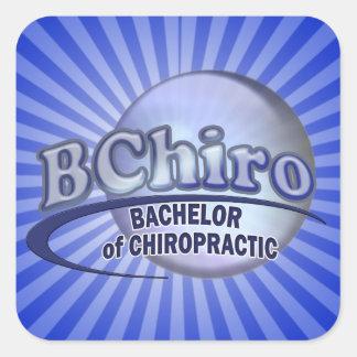 BChiro BACHELOR  CHIROPRACTIC BLUE LOGO Square Sticker