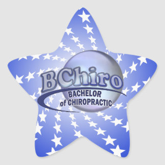 BChiro BACHELOR  CHIROPRACTIC BLUE LOGO Star Sticker