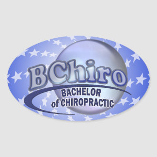 BChiro BACHELOR  CHIROPRACTIC BLUE LOGO Oval Stickers