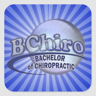 BChiro BACHELOR  CHIROPRACTIC BLUE LOGO Square Sticker