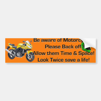 Be Aware of Motorcycles Orange Bumper Sticker
