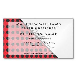 """""""Be Different."""" Typography on Red Black Polka Dots Magnetic Business Card"""