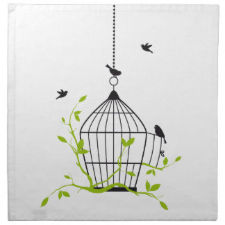 be free, open birdcage with birds and branches napkin