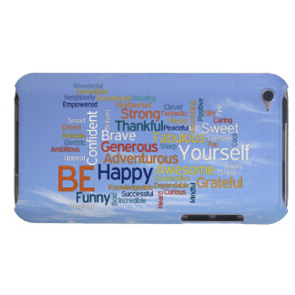 Be Happy Word Cloud in Blue Sky Inspire Barely There iPod Cases