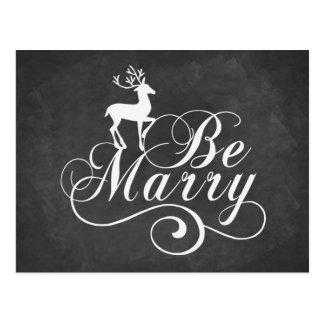 Be Merry Christmas card vintage chalkboard deer