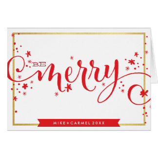 BE MERRY whimsical holiday greeting gold border Note Card