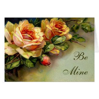 Be Mine Yellow Roses Card