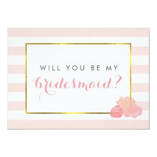 Be My Bridesmaid Card | Pink Stripe & Blush Peony 13 Cm X 18 Cm Invitation Card