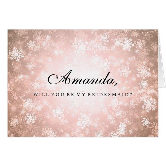 Be My Bridesmaid Copper Winter Wonderland Card