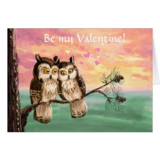 Be my valentine owls card