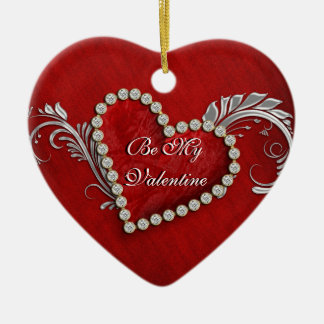 """""""Be my valentine"""" red heart decoration Christmas Tree Ornament"""