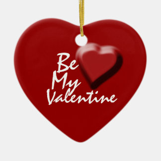 """""""Be my valentine"""" saying red heart decoration Christmas Ornaments"""