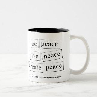 be peace - live peace - create peace Two-Tone mug