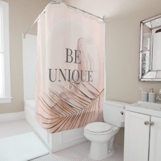 BE UNIQUE-Luxury Rose Gold Trendy Typography Shower Curtain