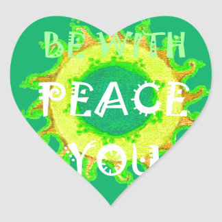 Be With You Peace Heart Sticker