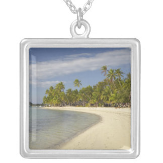 Beach and palm trees, Plantation Island Resort 2 Silver Plated Necklace