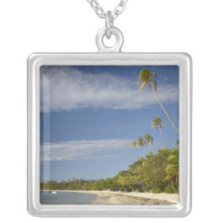 Beach and palm trees, Plantation Island Resort Silver Plated Necklace