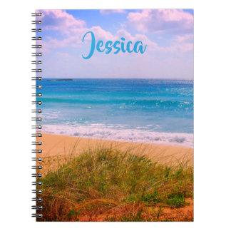 Beach and Sea with Dunes Personalised Name Notebook