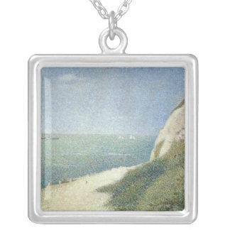 Beach at Bas Butin, Honfleur, 1886 Square Pendant Necklace
