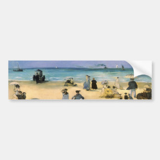 Beach at Boulogne by Manet, Vintage Impressionism Bumper Sticker