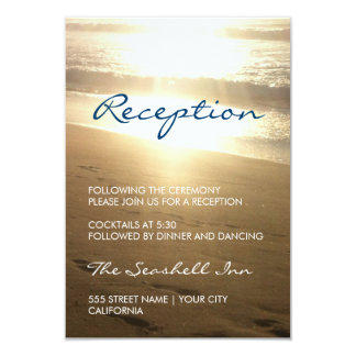 Beach at Sunset - reception card