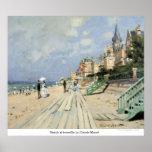 Beach at trouville by Claude Monet Print