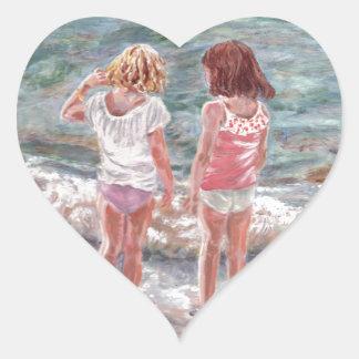 Beach Babies Heart Sticker