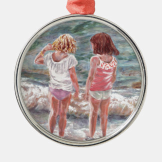 Beach Babies Silver-Colored Round Decoration
