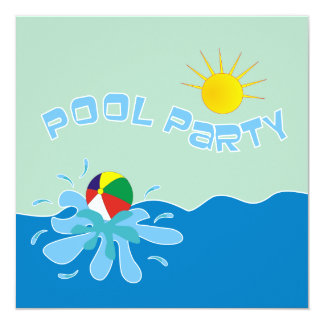 Beach Ball Pool Party Invitations