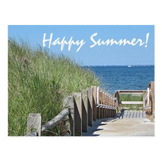 Beach boardwalk photo postcard