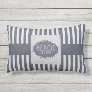 Beach Bum Navy Blue Striped with Monogram Lumbar Pillow