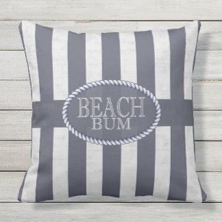 Beach Bum Seas the Day Blue and White Nautical Throw Pillow