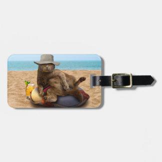 Beach cat - summercat - grey cat - kitten cat luggage tag