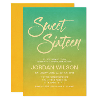 Beach Citrus Gradient Sweet 16 Birthday Invitation