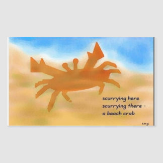 Beach Crab Haiku Art Sticker