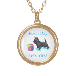 Beach Day Scottie Dog Gold Plated Necklace
