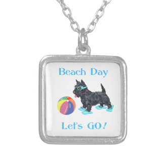 Beach Day Scottie Dog Silver Plated Necklace
