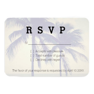 Beach destination palm tree RSVP wedding cards 9 Cm X 13 Cm Invitation Card
