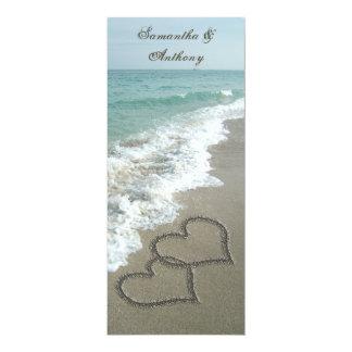 Beach Destination Wedding Invitation, 2 Hearts 10 Cm X 24 Cm Invitation Card
