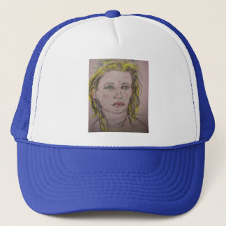 beach girl with flowers in her hair trucker hat