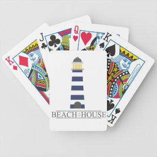 Beach House. Nautical navy blue lighthouse. Bicycle Playing Cards