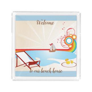 Beach House Ocean Sail Boat Acrylic Tray
