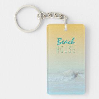 Beach House Ocean Wave Rental Key Ring Single-Sided Rectangular Acrylic Key Ring