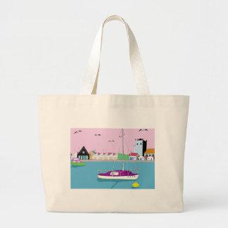 beach huts jumbo tote bag