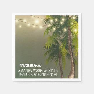 Beach Lights Palm Tree Tropical Wedding Napkins Paper Serviettes