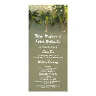 Beach Lights Palm Tree Tropical Wedding Programs Rack Card Template