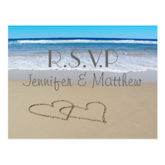 "Beach Love Hearts wedding ""rsvp"" postcard"