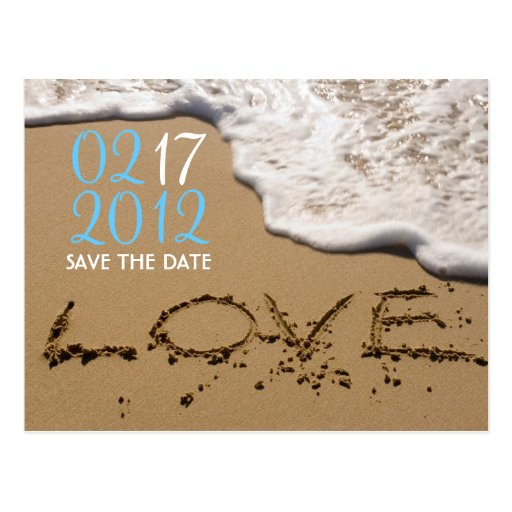"""Beach """"Love in the Sand"""" Save the Date Postcard"""