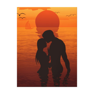 Beach Love Romance Silhouette Couple In The Sea Canvas Print